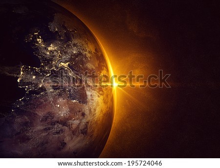 Sunrise (Elements of this image furnished by NASA)  - stock photo