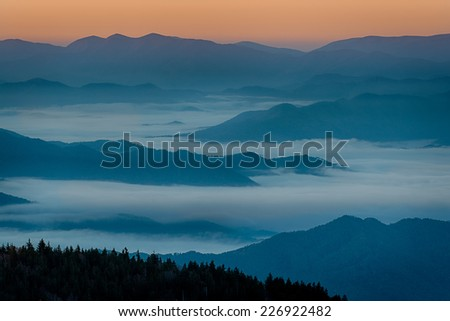 Sunrise from Clingmans Dome in Great Smoky Mountains National Park, Tennessee - stock photo