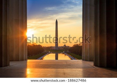 Sunrise from Lincoln Memorial with Washington Monument  - stock photo