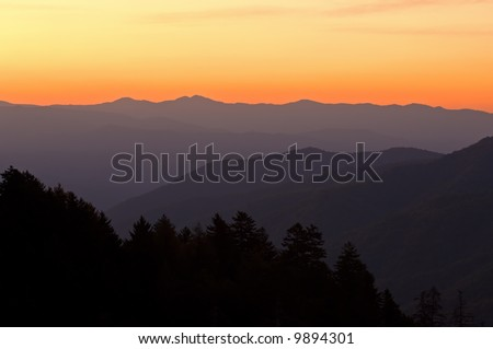 Sunrise from Newfound Gap, Great Smoky Mountains National Park, Tennessee, USA