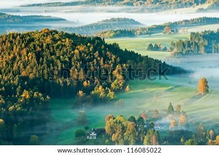 Sunrise in a beautiful mountain of Czech-Saxony Switzerland. - stock photo