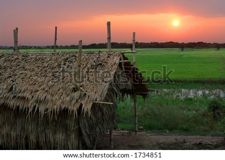 Sunrise in a poor Cambodian village just outside Siem Reap. - stock photo