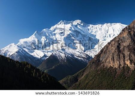 Sunrise in Annapurna mountains, Himalaya region, Nepal - stock photo
