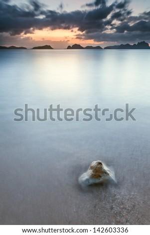 Sunrise in Bacuit Archipelago Philippines - stock photo