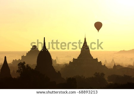 Sunrise in Bagan, Myanmar - stock photo