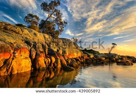 Sunrise in Bay of Fires, Tasmania - stock photo