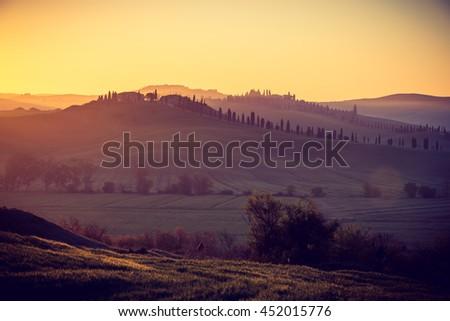 Sunrise in beautiful Tuscany, near Siena, Italy - stock photo