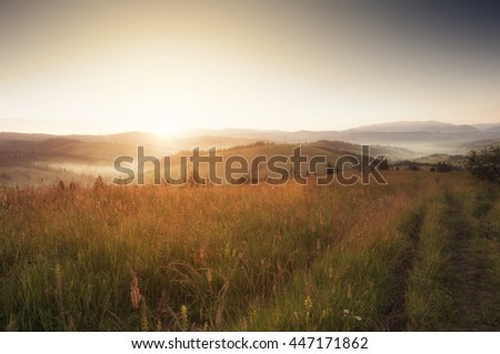 Sunrise In Carpathian Mountain (Borzava, Ukraine 2016) - stock photo