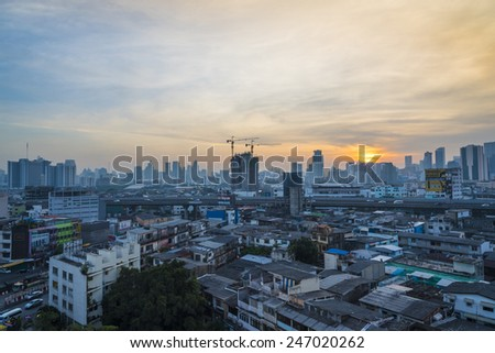 Sunrise in center at Bangkok, Thailand, Asia - stock photo