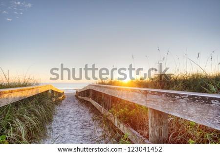 Sunrise in Cocoa Beach, Florida - stock photo