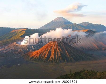 Sunrise in Mount Bromo National Park, Java, Indonesia - stock photo