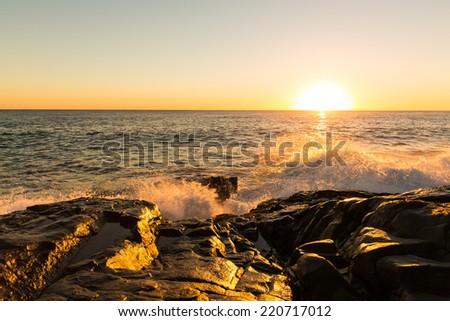 Sunrise in Noosa national park, Sunshine Coast, Queensland, Australia - stock photo
