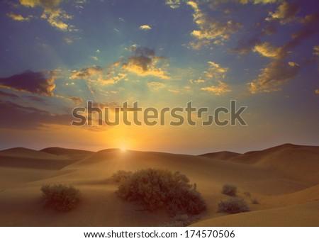 sunrise in Tar desert India - vintage retro style - stock photo