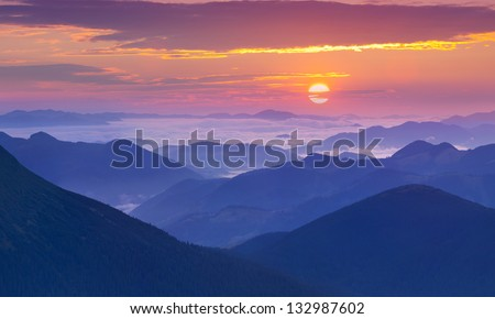 Sunrise in the Carpathian mountains. Ukraine, Europe. - stock photo