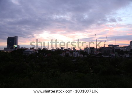 sunrise in the city with sky and cloud
