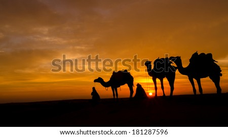 sunrise in the desert - stock photo