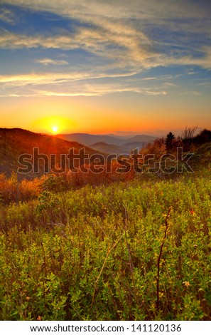 sunrise in the great smoky mountains of north carolina - stock photo