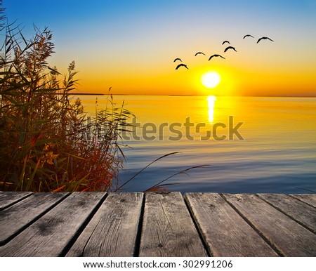 sunrise in the lake - stock photo