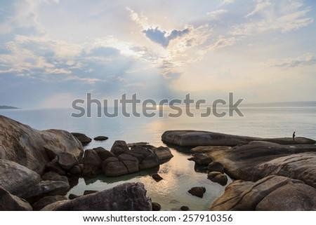 Sunrise in the morning with fog Landscape around Lamai beach , Samui Island - stock photo