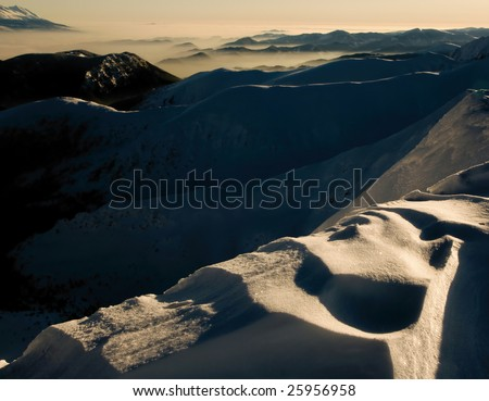 Sunrise in the mountains - stock photo