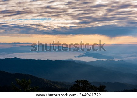 Sunrise in the mountains landscape with sunny and clouds at Doi Pha Hom Pok National Park, the northernmost national park in Thailand, the second highest in Thailand