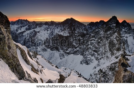Sunrise in the rocky mountain - stock photo
