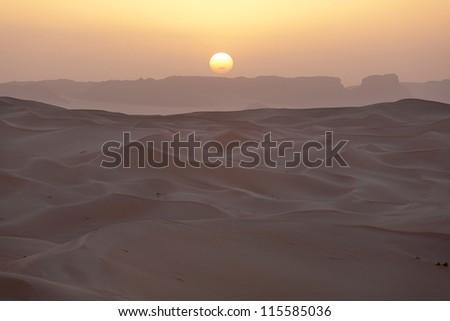 Sunrise in the Sahara Desert - stock photo