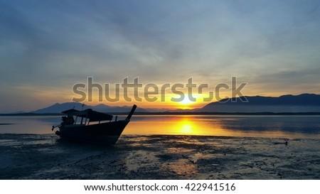 sunrise in the sea at Phra Thong Island,Khao Lak ,Phang nga.  - stock photo