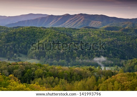 Sunrise in the Smoky Mountains viewed from an overlook along Foothills Parkway just outside Townsend, Tennessee. - stock photo