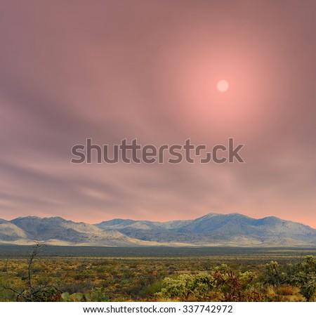 Sunrise in The Sonora desert in central Arizona USA - stock photo