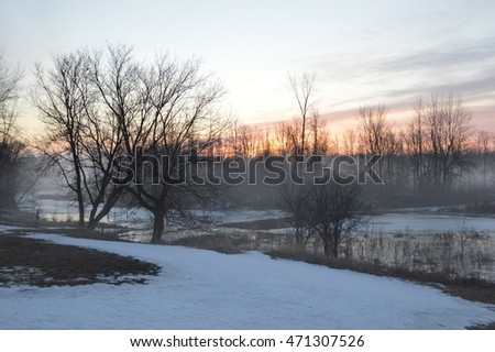 Sunrise in the spring over the creek