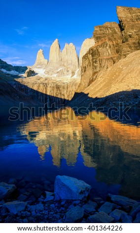 Sunrise in Torres del Paine, Torres del Paine National Park, Chile - stock photo