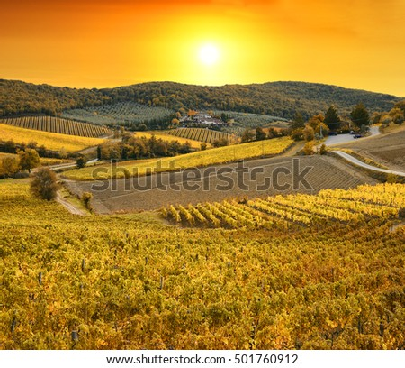 Sunrise in Tuscany in autumn