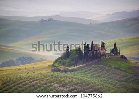 Sunrise in Val d'Orcia. Tuscany - Italy