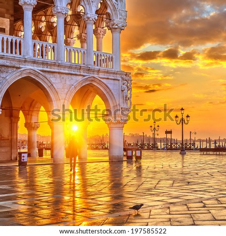 Sunrise in Venice, Italy - stock photo