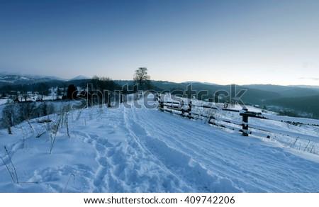 Sunrise in winter mountains . Sunrise in Carpathian Mountains, Ukraine - stock photo