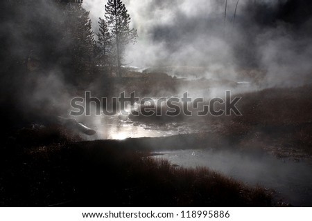 Sunrise in Yellowstone National Park, Wyoming, United States - stock photo