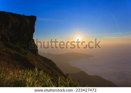 Sunrise landscape - stock photo