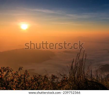 Sunrise landscape in nature - stock photo