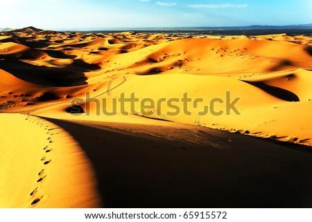 Sunrise light in Sahara Desert, Africa - stock photo