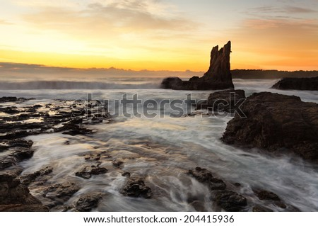 Sunrise morning and beautiful Cathedral Rocks, on the south coast of NSW, Australia.  hdr ro some rocks - stock photo