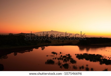 Sunrise Mount Kenya in Africa - stock photo