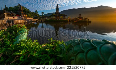 Sunrise of Pura Ulun Danu Bratan, or Pura Bratan, is a major Shivaite and water temple on Bali, Indonesia - stock photo