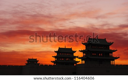 Sunrise of the Jiayuguan Pass Tower in GanSu,China - stock photo
