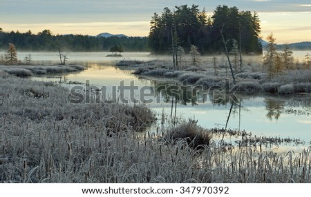 Sunrise on a cold, frosty morning in the Adirondacks