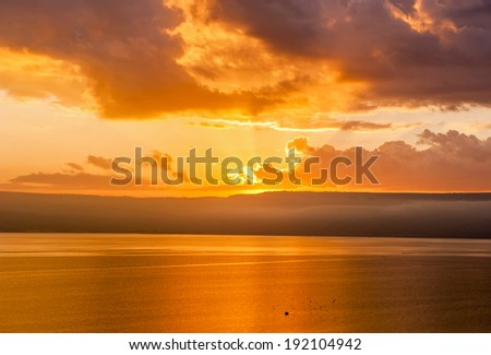 sunrise on a Sea of Galilee