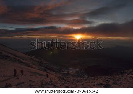 Sunrise on First Kilimanjaro Summit - stock photo
