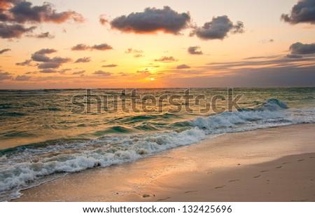 Sunrise on Punta Cana Beach, Dominican Republic - stock photo