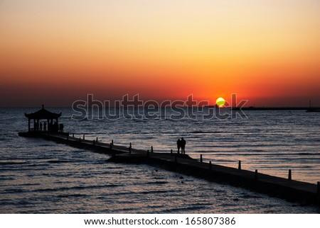sunrise on sea, Bohai, China - stock photo