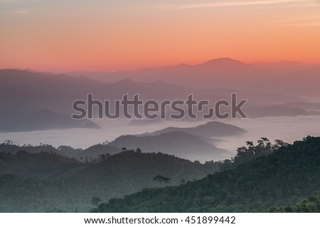 Sunrise on summit of Monkluy  Hill, Tak province, Thailand